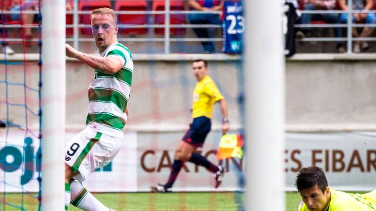 Leigh Griffiths scores his third goal in Celtic's with over Elbar