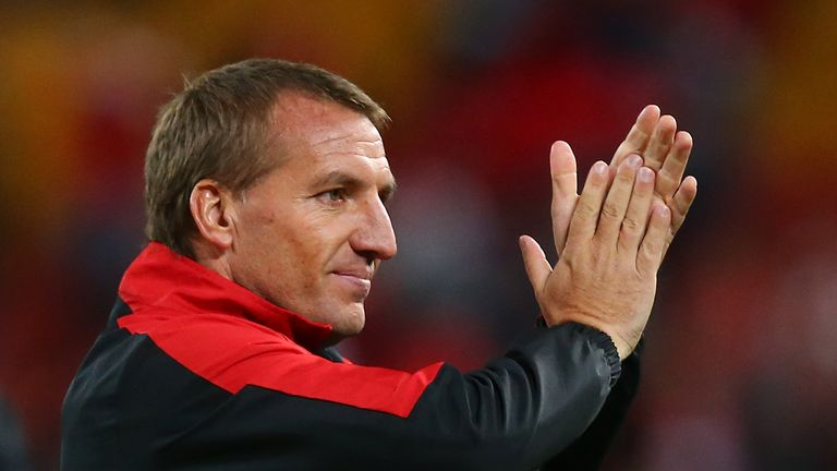 Liverpool FC coach Brendan Rodgers celebrates winning the international friendly match between Brisbane Roar and Liverpool FC