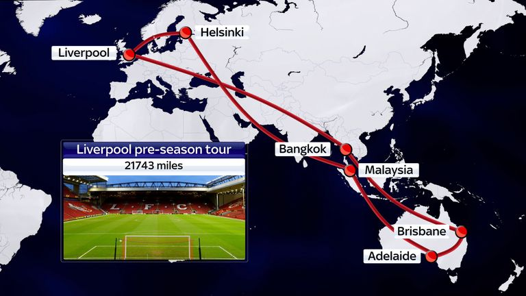Liverpool's pre-season tour sees them visit Bangkok, Brisbane, Adelaide, Kuala Lumpur and Helsinki, travelling 21,743 miles.