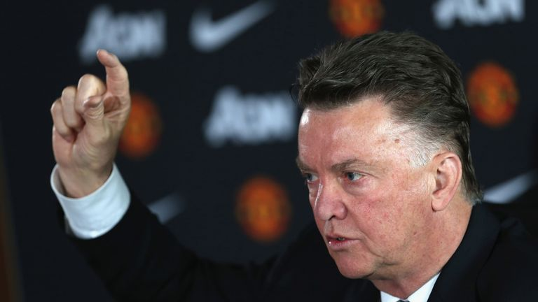 Manager Louis van Gaal of Manchester United speaks during a press conference at Aon Training Complex on April 17, 2015 in Manchester, England.
