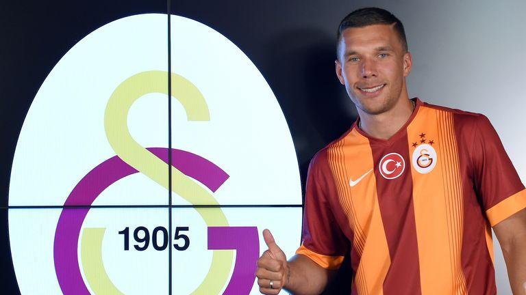 Galatasaray's new  forward Lukas Podolski gestures