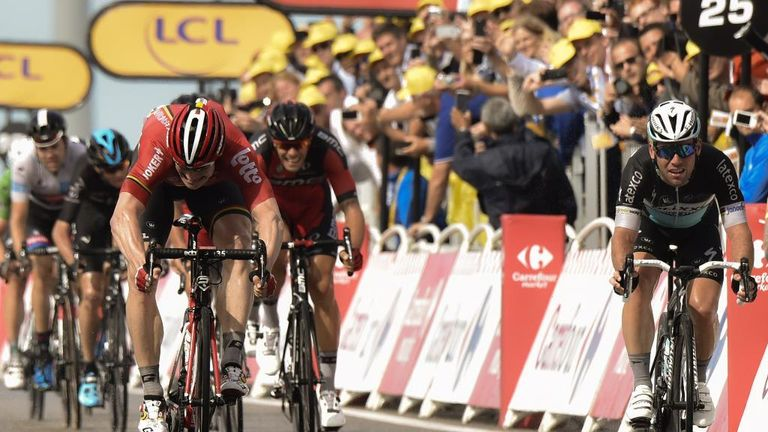 Mark Cavendish right finished fourth as Andre Greipel won stage two of the Tour de France