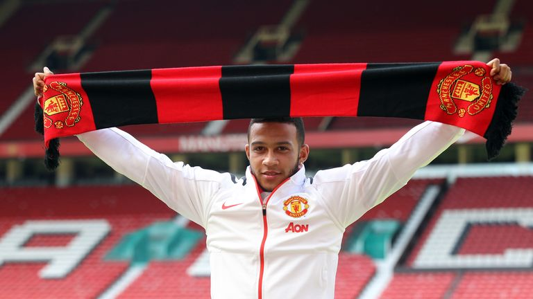 Manchester United's new signing Memphis Depay is unveiled during the press conference at Old Trafford, Manchester.