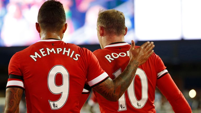 Memphis Depay: Celebrates his first United goal