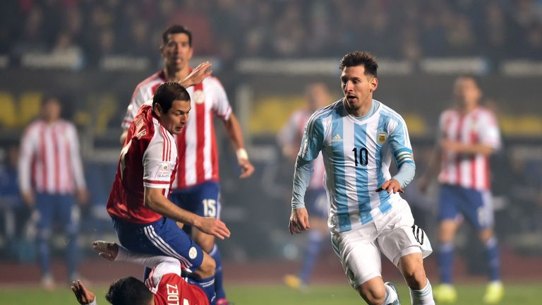 Argentina's Lionel Messi waltzes through the Paraguay defence