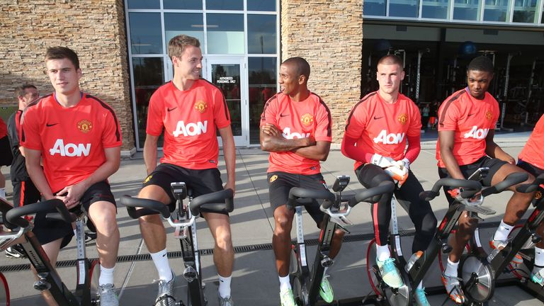 Patrick McNair, Jonny Evans, Ashley Young, Sam Johnstone and Tyler Blackett of Manchester United in action