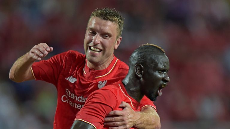 Mamadou Sakho (R) celebrates with Rickie Lambert (L) after scoring the second goal.