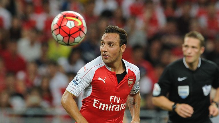 Santi Cazorla in pre-season action for Arsenal