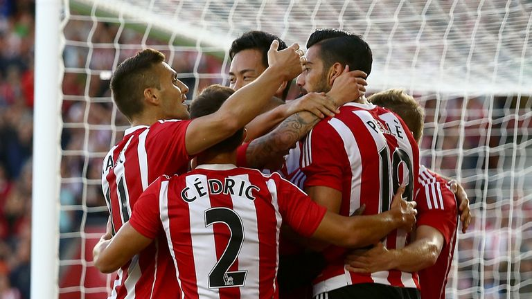 Graziano Pelle is congratulated after putting Southampton 1-0 up