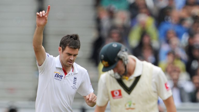 James Anderson celebrates dismissing Steve Smith at Melbourne in England's 2010/11 Ashes win
