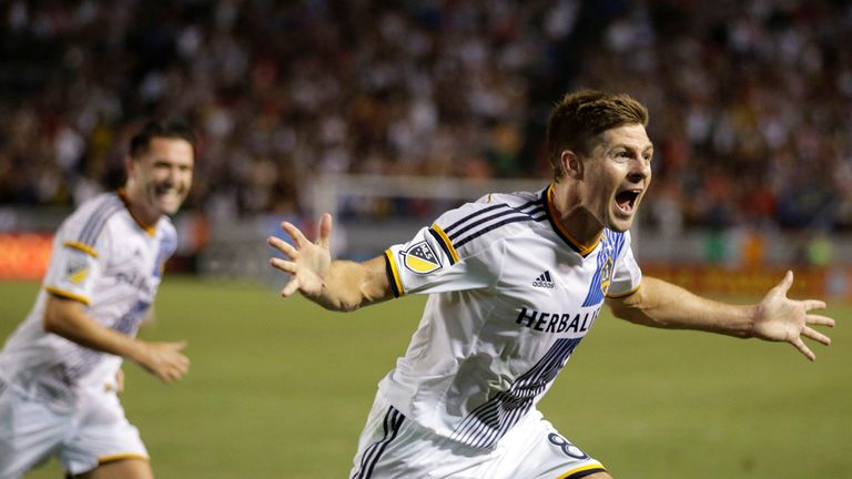 Gerrard celebrates his first goal for LA Galaxy following his switch to the MLS.
