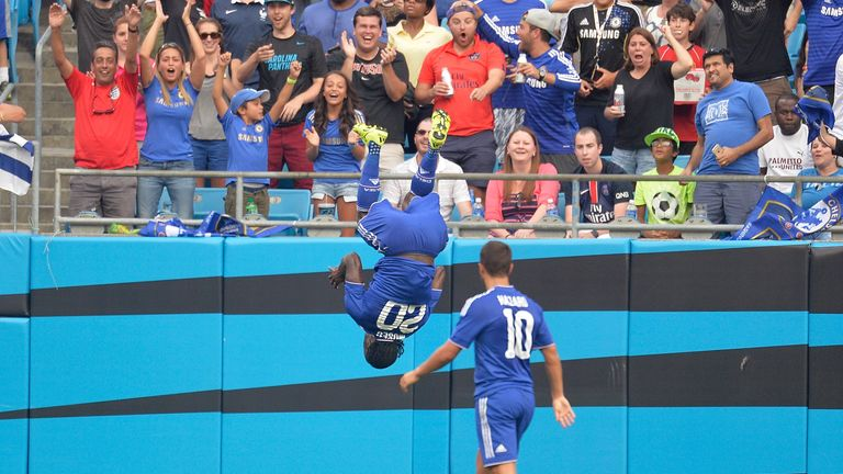 Victor Moses #20 of Chelsea does a flip after scoring a goal