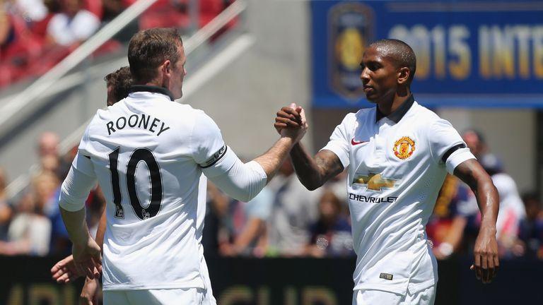Wayne Rooney celebrates scoring Manchester United's opening goal against Barcelona