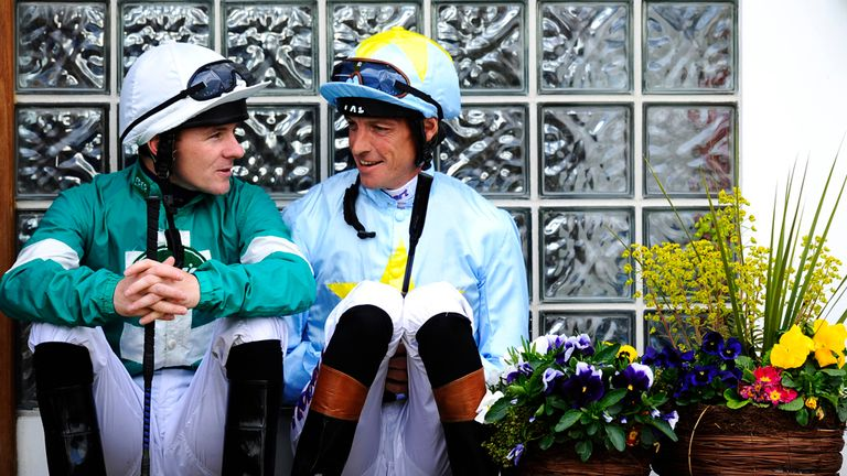 Ian Mongan and Richard Hughes chat before the first race at Windsor racecourse on a Monday evening where Hughes always had such great success