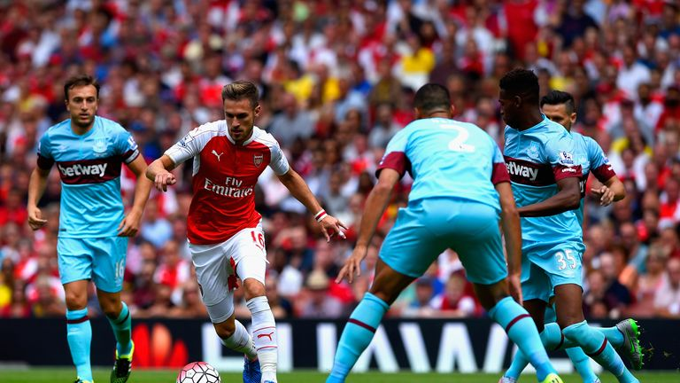 Aaron Ramsey runs at the West Ham defence