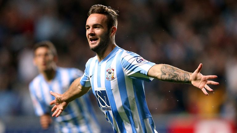 Coventry City's Adam Armstrong celebrates scoring his side's second goal