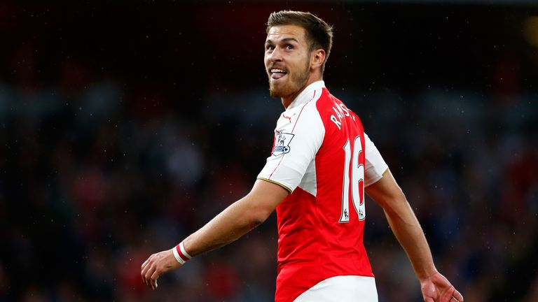 Arsenal's Aaron Ramsey looks on during the Barclays Premier League match against Liverpool