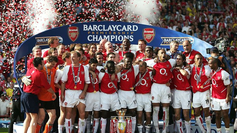 Arsenal celebrate their 'Invincibles' season