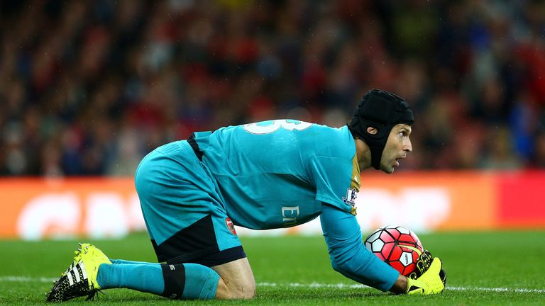 Arsenal's Petr Cech gather the ball against Liverpool