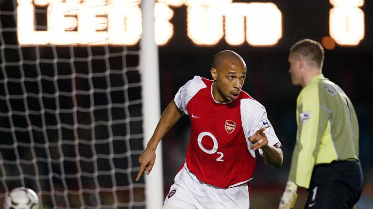 Thierry Henry, now a Sky Sports pundit, celebrates scoring against Leeds in 2004
