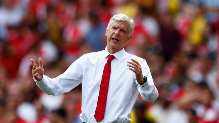 Arsene Wenger, Manager of Arsenal reacts on the touchline during the Barclays Premier League match between Arsenal and West Ham