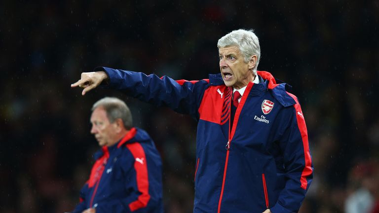 Arsene Wenger gives instructions during the Barclays Premier League match between Arsenal and Liverpool