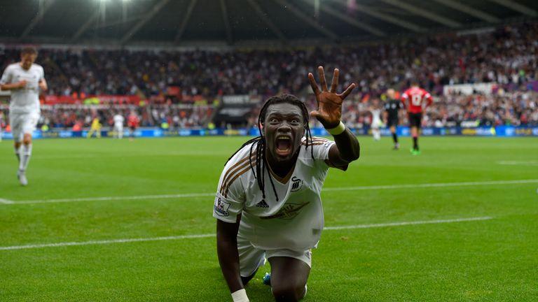 Swansea striker Bafetimbi Gomis celebrates