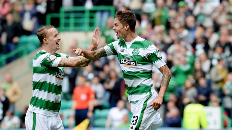 Mikael Lustig celebrates his strike for Celtic with Leigh Griffiths (left).