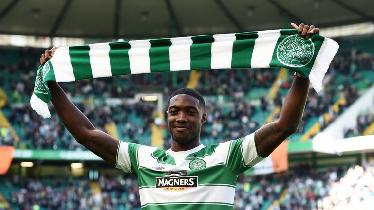 Celtic's new signing Tyler Blackett, on loan from Manchester United, was paraded to fans at half-time