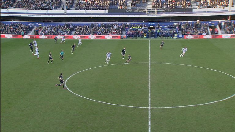 QPR's Charlie Austin (right) starts in an offside position in and eventually runs to the near touchline without being penalised at any point