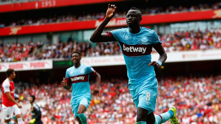Cheikhou Kouyate celebrates after scoring for West Ham against Arsenal