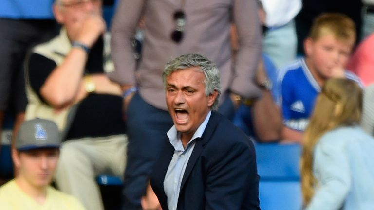 Jose Mourinho gestures during the Barclays Premier League match between Chelsea and Swansea City at Stamfo
