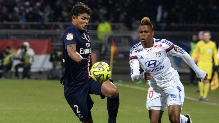 Njie takes on Paris Saint-Germain's Brazilian defender Thiago Silva
