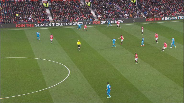 Connor Wickham (far right) is marginally offside when the ball is played up the line during Stoke's visit to Manchester United