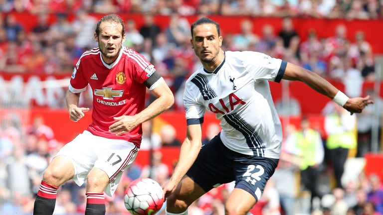 Daley Blind of Manchester United in action with Nacer Chadli of Tottenham Hotspur