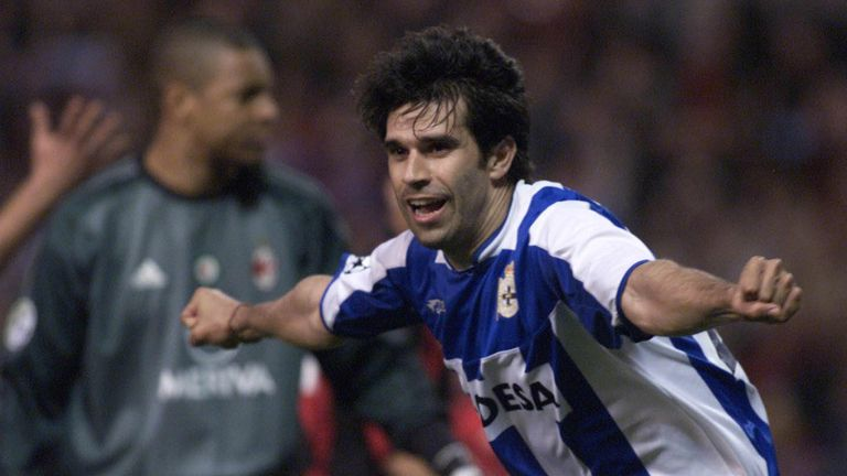 Deportivo Coruna's player Juan Valeron celebrates after scoring the 2nd goal against AC Milan during the European Champions League quarter-final