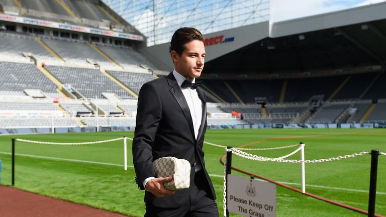 Florian Thauvin of Newcastle United arrives in a tuxedo for the Barclays Premier League match between Newcastle United and Arsenal