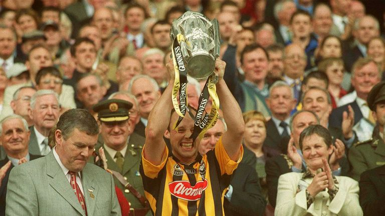 Kilkenny captain Andy Comerford lifts the Liam MacCarthy Cup after their All-Ireland final win over Clare in 2002