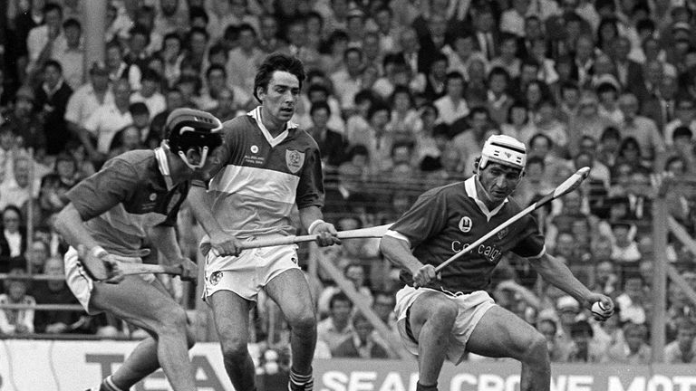 Tom Conneely (middle) tracks John Fenton during Offaly's All-Ireland final loss to Cork in 1984