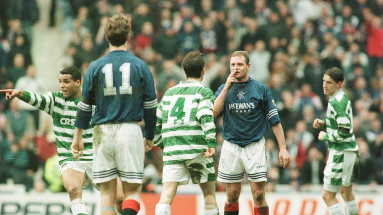 Gazza blows a kiss at Celtic's Jackie McNamara in a 1996 Old Firm derby