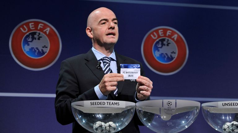 NYON, SWITZERLAND - JUNE 24:  Gianni Infantino, UEFA General Secretary, shows the name FC BATE Borisov during the UEFA Champions League Q2 qualifying round