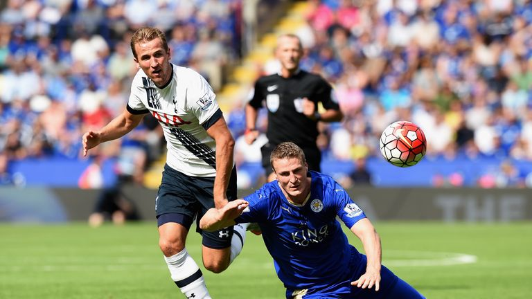 Harry Kane and Robert Huth battle for the ball