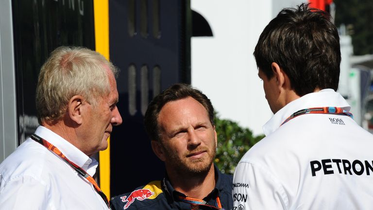 Red Bull's Helmut Marko and Christian Horner in discussion with Mercedes' Toto Wolff at Spa