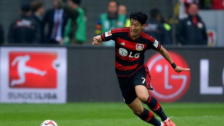 Heung-Min Son of Leverkusen of Bayer Leverkusen runs with the ball