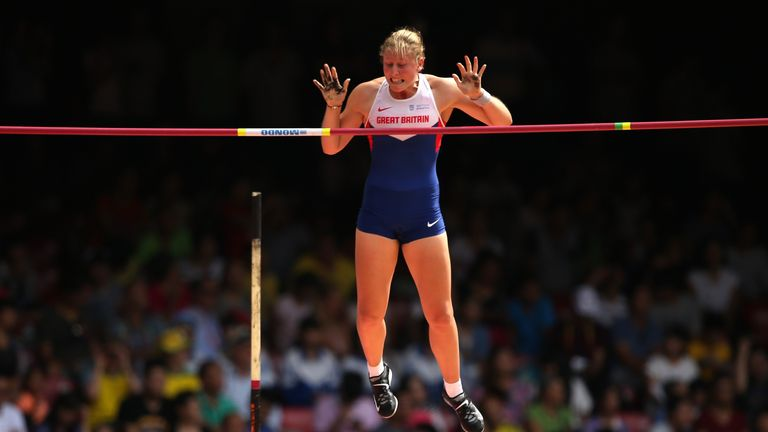 Holly Bradshaw in flying form during pole vault qualification