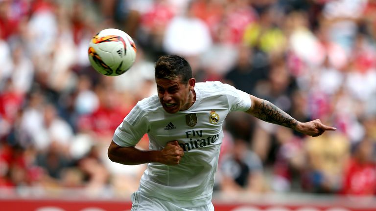 James Rodriguez heads Real Madrid in front against Tottenham