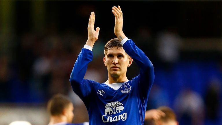 LONDON, ENGLAND - AUGUST 29: John Stones of Everton applauds the fans after the scoreless draw in the Barclays Premier League match between Tottenham Hotsp