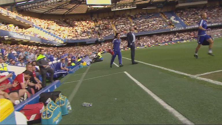 Eva Carneiro follows Jon Fearn past Jose Mourinho on to the pitch to treat Eden Hazard