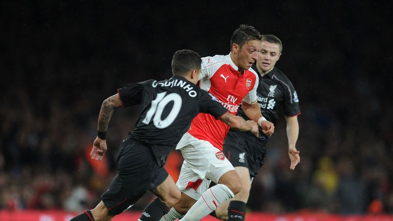 Ozil in action against Liverpool on Monday night