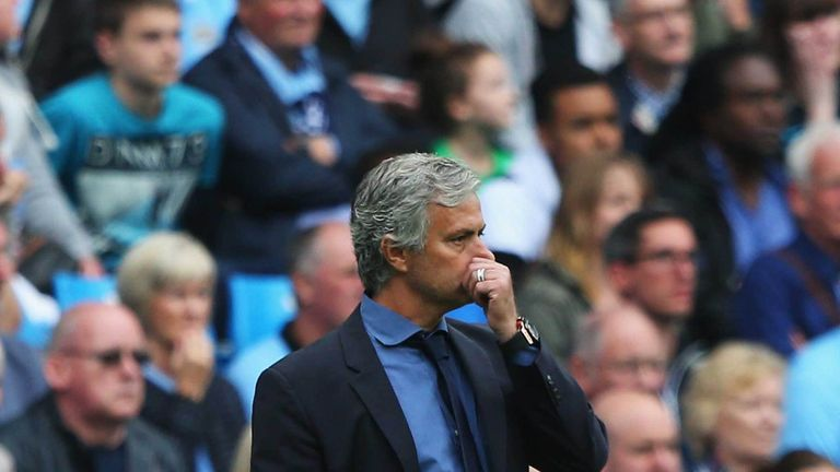 A pensive Jose Mourinho during Chelsea's 3-0 defeat at Manchester City